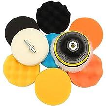 """Qiilu 11Pcs de esponja de pulido de pulido encerado kit de cojín para el amortiguador de pulido del coche con adaptador de taladro[4""""]"""