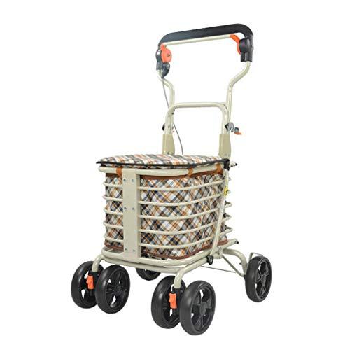 Léger Rollator Walker Pliable 4 Roues Caddie Chariot Sac de Rangement avec siège Freins verrouillables Pliable Portable