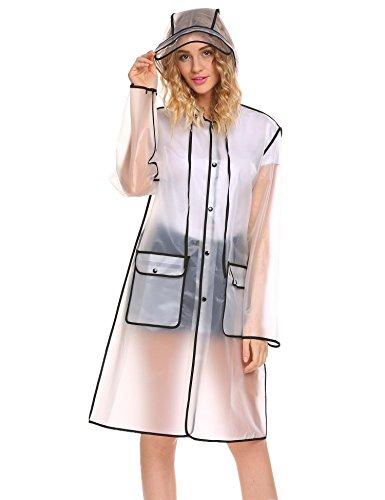 Keelied Damen Transparent Regenjacke Regenmantel Wasserdicht Poncho Raincoat Regenbekleidung mit Kapuze für Fahrrad Motorrad, Schwarz, Gr. M Atmungsaktive Regenbekleidung