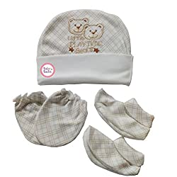 Baby Basics - Cap Mitten Booties Set - Off White