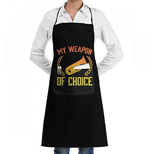 gfhfdhdfhtryh Tuba Weapon of Choice Professiona Adjustable Kitchen Chef Bib Apron with Pockets for Men Women