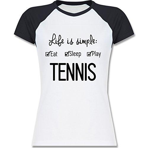 Tennis - Life is simple Tennis - zweifarbiges Baseballshirt / Raglan T-Shirt für Damen Weiß/Navy Blau