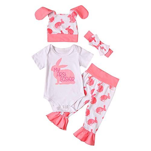 Xmiral Kleinkind Kinder Mädchen Langarm Outfits Strampler Tops + Pants + Stirnbänder + Hut Neugeborenes Baby Ostern Kleidung Set(Rosa 1,18-24 Monate)