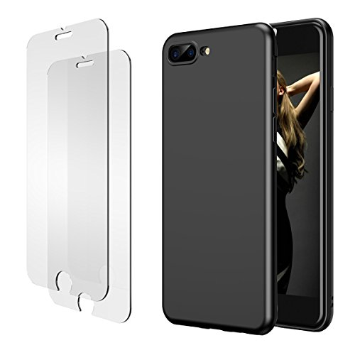 iPhone 7 Plus 8 Plus Hülle, iPhone 7 Plus 8 Plus Panzerglas, E-Unicorn Apple iPhone 7 Plus 8 Plus Hülle Silikon Schwarz Matt Tasche Schutzhülle + 2 Stück Schutzfolie Glas Folie Zubehör 9H 3D (I Cover Phone Elegante)