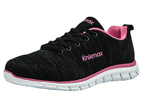 Knixmax Damen Sportschuhe Bequem Turnschuhe Atmungsaktiv Running Sneaker Outdoor Fitnessschuhe Leicht Laufschuhe EU 37-(UK 4) Black-Rose (Mädchen Boot Sneaker)