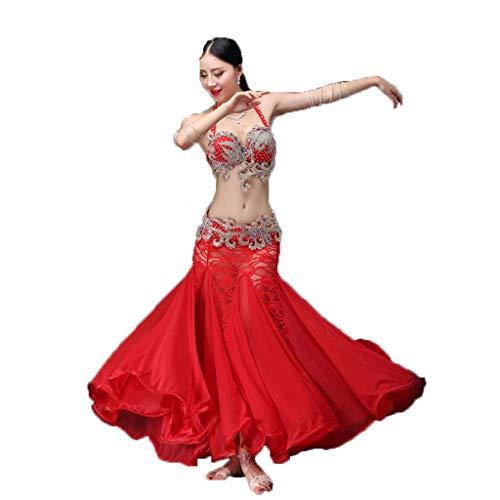 TFF Bauchtanz Kostüm Herbst und Winter Fee Kleid Kostüm sexy Tanzkleidung (Color : Red, Size : - Sexy Rosa Fee Kostüm