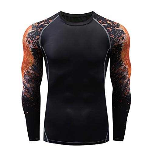 Dtuta Herren Bekleidung Sale Hemd,Trend LangäRmelige Yoga-Fitness-Laufendes Tiger-Totem-T-Shirt-Oberteil Aus Schwarzem, Schnell Trocknendem, Eng Anliegenden Stretch War DüNn Top