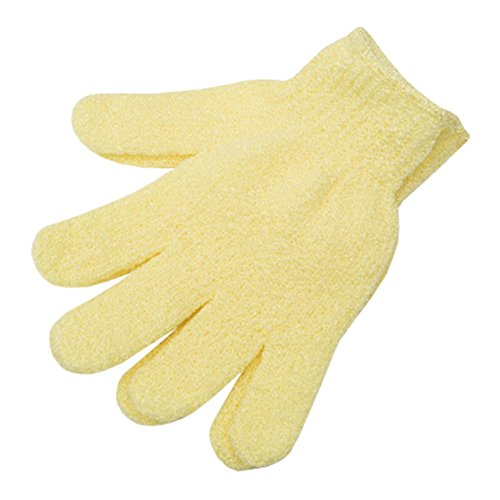 Loofah éponge laveur Éponge Débarbouillette Nylon Five Finger Gloves Jaune