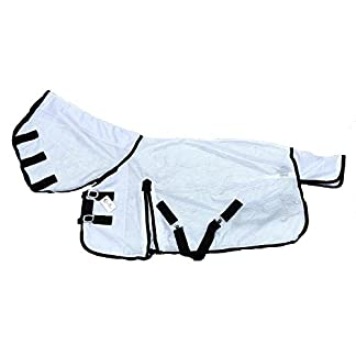 """Cwell Equine NEW MINI/SHETLAND/PONY FLY RUG SOFT MESH ATTACHED NECK COVER WHITE 3'6-4'9"""" (3'0"""") 7"""