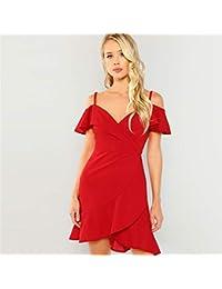 4187f6146a JJHR Vestido Cuello En V Rojo Vestido con Volantes Bodycon Otoño Vestido De  Fiesta Surplice De