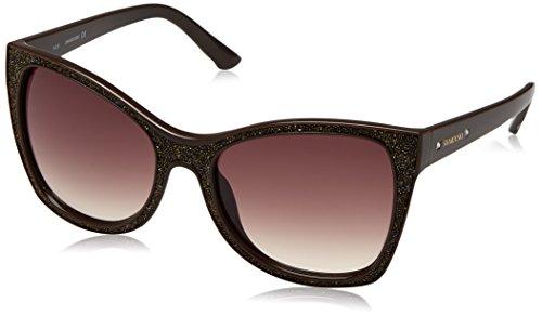 Swarovski Damen SK0109-5648F Sonnenbrille, Braun (Shiny Dark Brown), 56