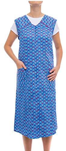 Tobeni Damen Kittelschürze lang mit Reissverschluss und Tasche ohne Arm 100% Baumwolle Farbe Design 11 Grösse (Elf Kostüm Designs)