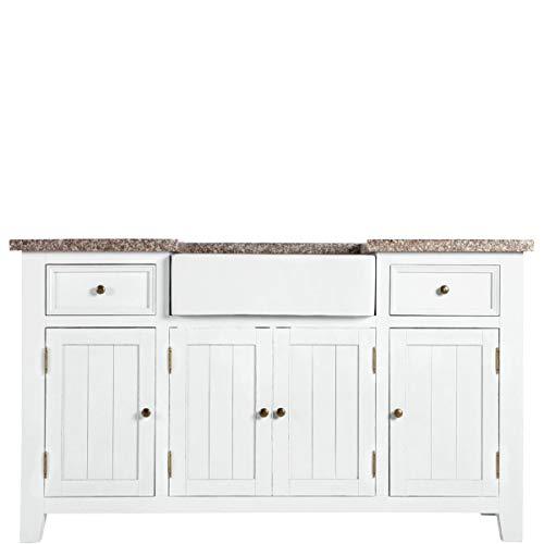 Butlers Maple Hill Spültisch mit Granitarbeitsplatte und Keramikbecken - weißer Tisch aus Kermaik und Paulowniaholz