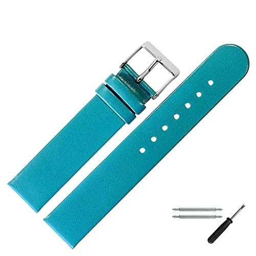 MARBURGER Uhrenarmband 20 mm Leder Türkis - Uhrband Set 7612059000120