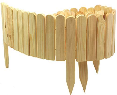 Floranica® Bordure Rollborder déroulable, en Bois, de 203 cm, délimitation de Plates-Bandes, Bord de Gazon, de Coupe, pelouse ou comme palissade - imprégnée, Couleur:Nature, Hauteur:20 cm