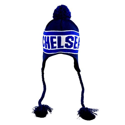 Chelsea FC Peruvian Winter Mütze mit Clubnamen (Einheitsgröße) (Blau/Marineblau)