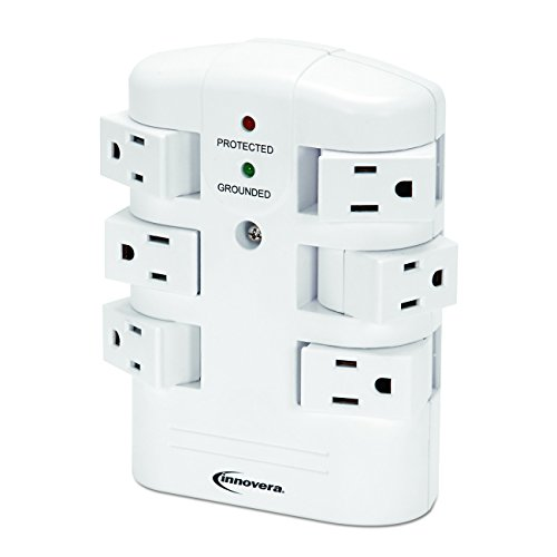 Wall Mount Surge Protector, 6 Outlets, 2160 Joules (Portable Wall Mount)