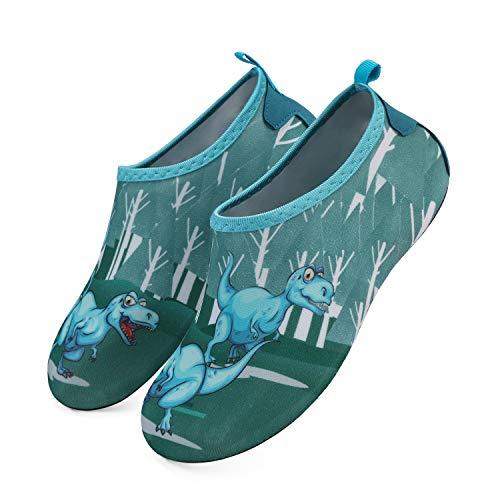 K KomForme Kinder Badeschuhe Barfußschuhe Wasserschuhe Strandschuhe Schwimmschuhe Aquaschuhe Mädchen Jungen, Blau Dinosaurier, 28/29 EU