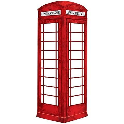 Fine Décor Wallpops - Pizarra blanca autoadhesiva (tamaño gigante), diseño de cabina de teléfonos londinense, color rojo