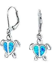 Bling Jewelry Aretes Colgantes Náuticos Tortugas Marinas Forma de Corazón de Ópalo Azul Plata de Ley