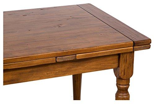 Tavolo allungabile Country in legno massello di tiglio finitura noce ...