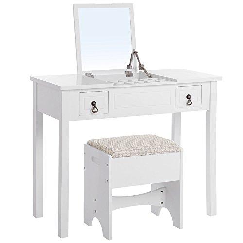 Songmics Tocador con Espejo redondo Espejo moderno con tapa abatible con taburete 3 Cajas de almacenaje movibles Blanco RDT01W