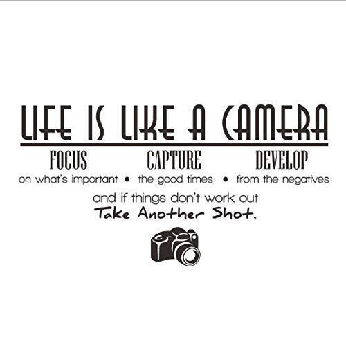 Das Leben Ist Wie Eine Kamera Fokus Erfassen Entwickeln Kunst Wandaufkleber Pvc Abnehmbare Diy Home Decor Wasserdichte Wohnzimmer Abziehbilder 113X59Cm - Eine Ist Wie Leben Das Kamera
