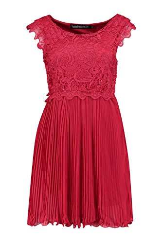 YPO Womens Berry Boutique Elizabeth Corded Lace Pleated Skater Dress