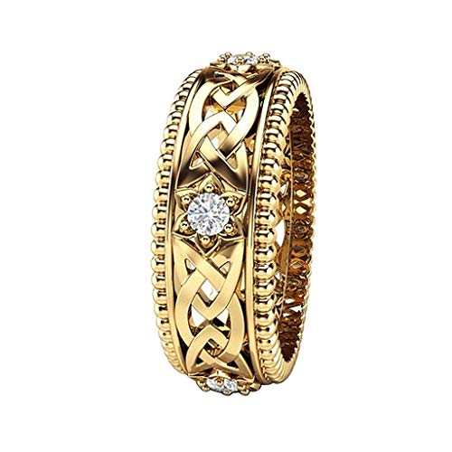 Floweworld Damenmode Ring Schmuck Frauen Hochzeit Ring Überzogene 14 Karat Weißer Diamant Ring Openwork Muster Ring Zubehör ()