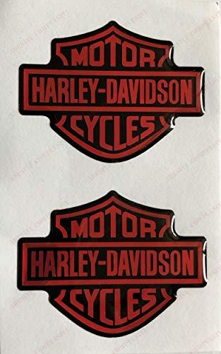 Logo Emblem Aufkleber, Paar geharzte Aufkleber, 3D-Effekt. Für Tank oder Helm. Schwarz orange (Harley Davidson Aufkleber Orange)