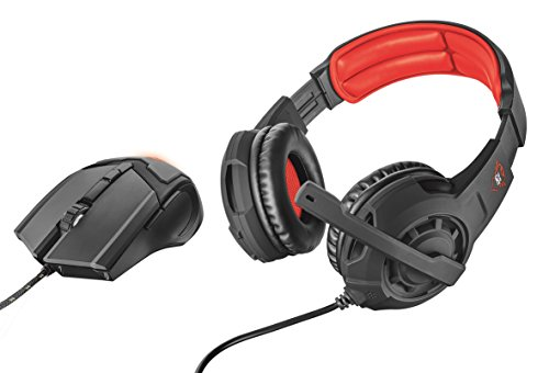 Trust GXT 784 - Pack de Auriculares Stereo y ratón Gaming, Color Negro