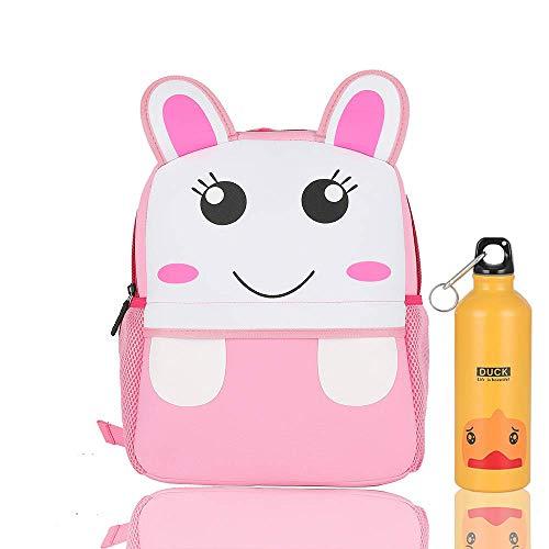 Zaino scuola elementari per animale bambini bambina, Zaino asilo per ragazzi ragazze & Con bollitore (coniglio, 3-6 anni 26x10x32cm)