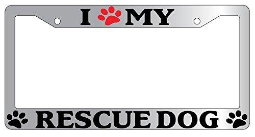 DIY Rine 30,5 x 15,2 cm Aluminium Metall Kennzeichenrahmen Humor Kennzeichenrahmen Abdeckung Halter Auto Tag Rahmen 2 Loch Schrauben, I Love (paw) My Rescue Dog -