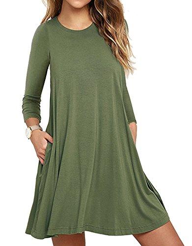 LILBETTER Frauen Langarm Casual Loose Fit T-Shirt Tunika Kleid Swing Kleid (Armeegrün XL)
