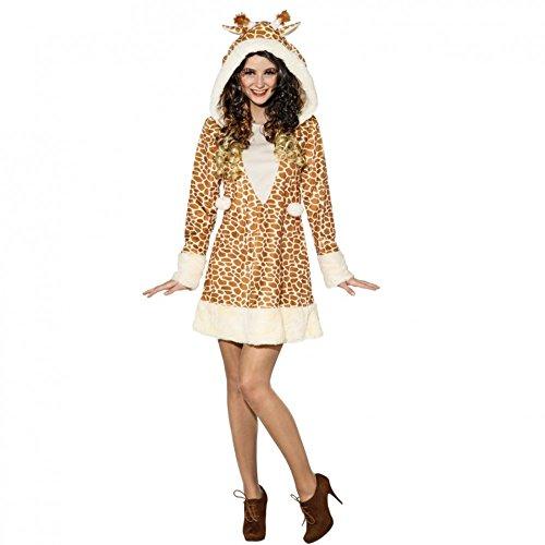 Giraffen Kostüm für Damen Gr. 34- 44 Kleid Giraffenmuster Zoo Afrika Tierkostüm (38/40)