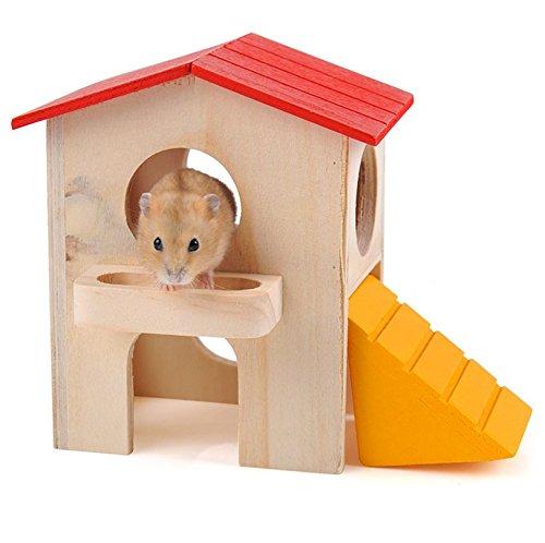 Philna12Deluxe en bois pour animal domestique Hamster souris Mini Maison Refuge de jouet
