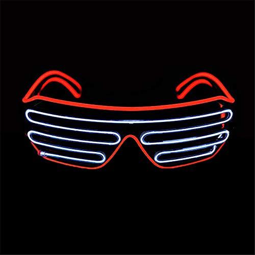 Mehrfarbiger Shutter EL Draht LED Brille Party - Neon Rave Brille blinkt lustige Brille für Weihnachten Halloween Wild Party Crazy Partys Rot/Weiß