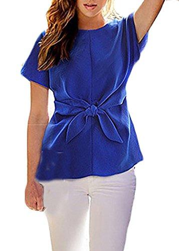 Frauen T-Shirts Blusen Chiffon-Bluse Oberteil Kurzarm Rundkragen Schmetterling Dünn Locker Einfarbig Blau