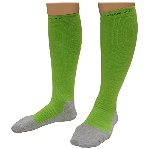 CompressionZ Socks (1 Pair) 20-30mmHg Graduated - Best For Running, Athletic Sports, Crossfit, Flight Travel (Men & Women) - Suits Nurses, Maternity Pregnancy, Shin Splints Large Green