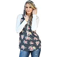 PAOLIAN Damen Langarm Floral Printing Lose Sweatshirt Kapuzenpullover Pullover Blumen Tops Blouse Mantel preisvergleich bei billige-tabletten.eu
