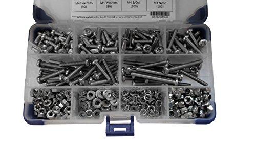 AHC k-100555mm M5Pozi Pfanne Stahl Maschine A2Edelstahl Schrauben Set mit Muttern und Unterlegscheiben (425-piece)