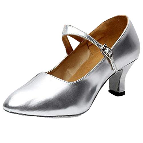 feiXIANG Pumps Damen Lateinische Tanzschuhe Party Dancing Ballroom Buckle Strap Low-top PU Leder Schuhe (A/Silber,38)