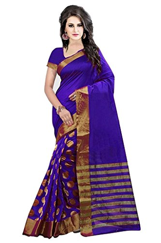 Saree (Vinayak Textile Women\'s Lovely Violet Colored Pure Cotton Embroidered Party Wear Sari)
