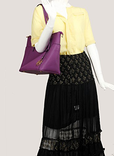Frau Handtaschen Damen Groß Für Leinentrage Tasche Konstrukteur Imitat Leder Berühmtheit Stil Neu (C - Bräunen) Lila