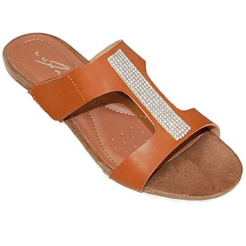 ZAFFIRO BOUTIQUE JLH707 Angel Donna Slip On Bordi Con Brillantini Piccolo/s Zeppa Sabot Sandali Alla Moda Marroncino