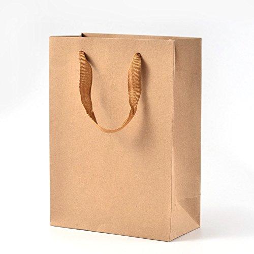 PandaHall - Lot de 10Pcs Sacs en Papier Kraft Pochette Cadeau Sacs à Provisions Rectangle Emballage Cadeaux avec Poignées en Fil de Nylon pour Fête Mariage Halloween Toussaint Noël, BurlyWood,16x12x5.7cm