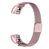 Magnetic Closure Milanese Strap Watch Band Wrist Strap For Fitbit Alta Tracker-Rose Pink