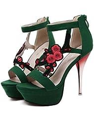 Bomba 12.5cm Estilete 5cm Plataforma Flores de bordado Zapatos de boda Zapatos De Vestir Mujer Dulce Punta abierta Correa de tobillo Cremallera Zapatos de la Corte Zapatos de fiesta Tamaño de la UE 34 , green , 36