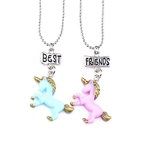 Mejores amigas collares para niñas/niños 2 Colgante unicornio Collares de plata Juego Arco iris para niños Regalos de amistad
