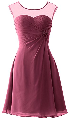 MACloth Women Short Bridesmaid Dress Cap Sleeve Cocktail Party Formal Gown Weinrot